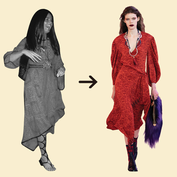 Ali Macgraw ▶영화 <러브 스토리>의 주인공 알리 맥그로. 영화속에서는 트렌치코트와 스웨터 등 클래식한 1970년대 룩을 선보였지만 실제로는 에스닉한 드레스, 플레어 팬츠를 즐겨 입는 보헤미안이었다. 그녀가 2019년을 살고 있다면 끌로에의 런웨이 룩을 선택했을 것 같다.