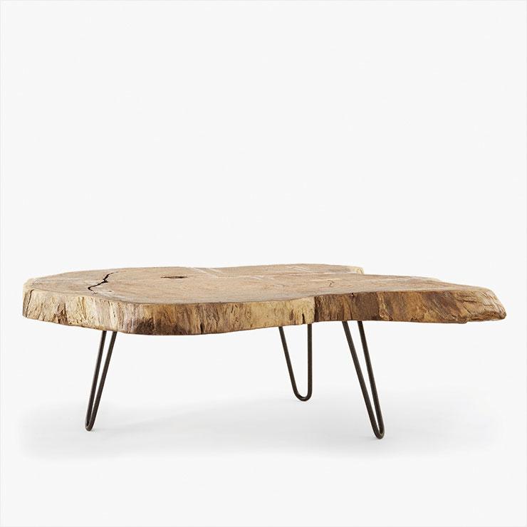 커다란 통나무를 툭 잘라 만든 듯 내추럴한 느낌의 티 테이블은 가격 미정, Zara Home.