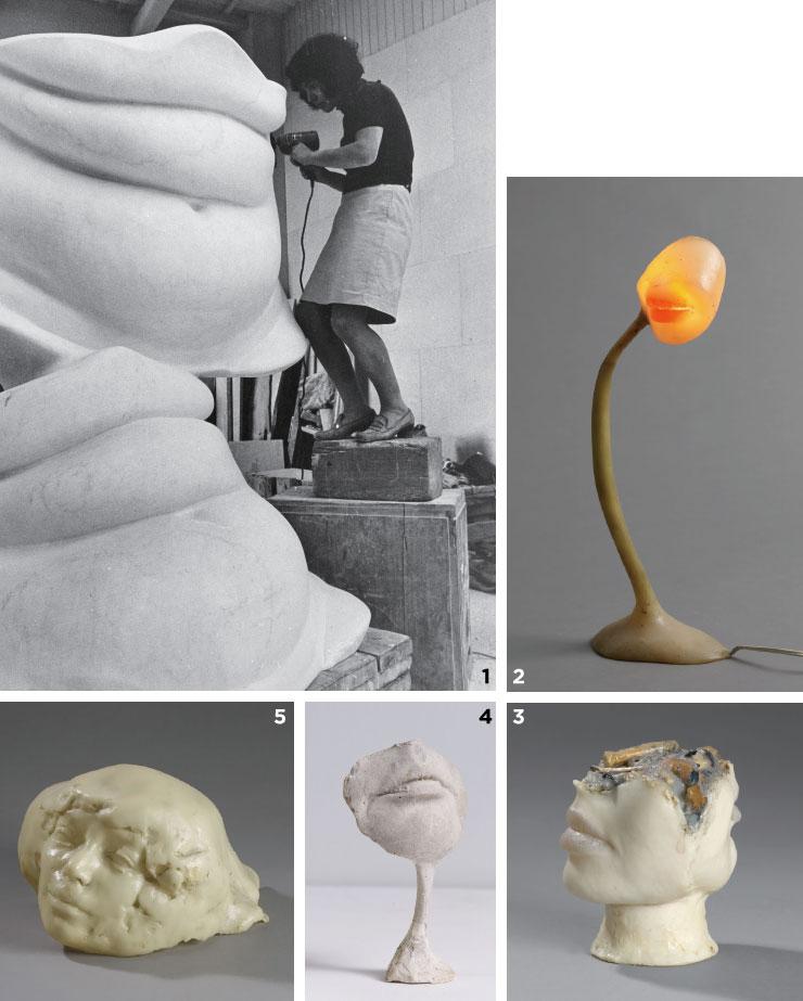 1 작업에 열중하고 있는 알리나 샤포츠니코프. 2 'Lampe-Bouche[Lamp-Mouth]', 1966, Coloured polyester resin, light bulb, electrical wiring and metal, 40x15x9cm. 3 'Cendrier de Celibataire I [The Bachelor's Ashtray I]', 1972, Coloured polyester resin and cigarette butts, 11.5x12.5x11cm. 5 'Sans Titre [No Title]', 1964-1965, Original plaster, 13x7.7x3.5cm. ⓒ ADAGP, Paris Courtesy the Estate of Alina Szapocznikow / Piotr Stanislawski / Galerie Loevenbruck, Paris / and Hauser & Wirth 4 'Autoportrait (Self-portrait)', 1971, Polyester resin and gauze, 18x29x28cm.