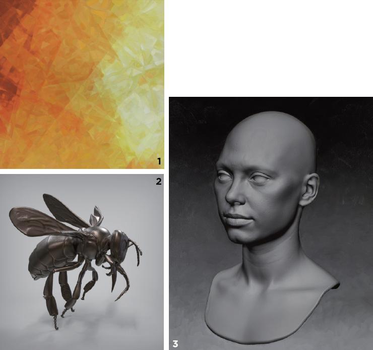 1 기술과 윤리의 불균형과 시대적 불안정을 반영하는 아이다의 회화 작품. 'The Shattering of Space'. 2 실제 벌의 마이크로 CT 스캔본에 아이다가 스케치한 그림을 결합하여 만든 청동 조각상 'Bee Sculpture'. 3 아이다가 조각상을 만드는 과정. 신진 작가들과의 협업으로 구현한 그래픽을 플라스틱, 은, 청동 등 다양한 재료를 사용해 3D 프린팅한다.
