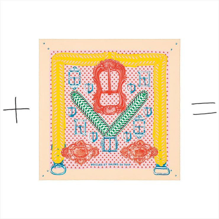 아트적인 프린트의 실크 스카프는 가격 미정, Hermès.