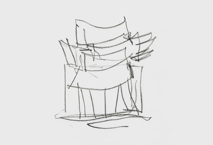 프랭크 게리가 그린 루이 비통 메종 서울 스케치.