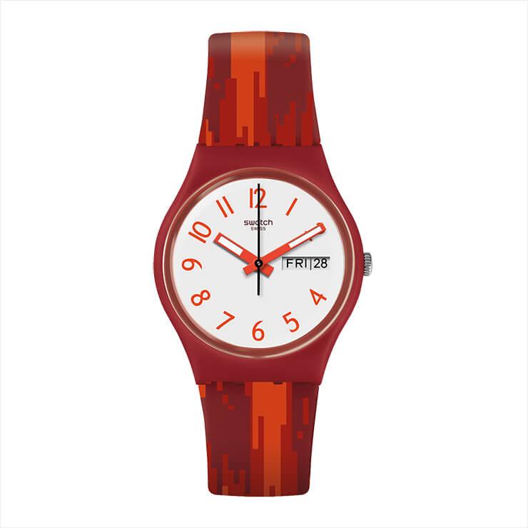 불꽃을 모티프로 한 그래픽 패턴의 손목시계는 8만4천원, Swatch.