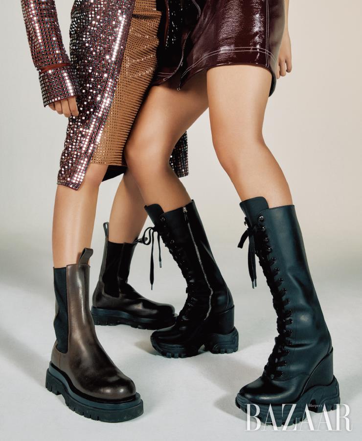 (왼쪽부터) 셔츠 드레스, 니트 드레스, 첼시 부츠는 모두 가격 미정 Bottega Veneta. 미니 드레스는 27만원대 Ganni by Matchesfashion. 레이스업 부츠는 가격 미정 Miu Miu.