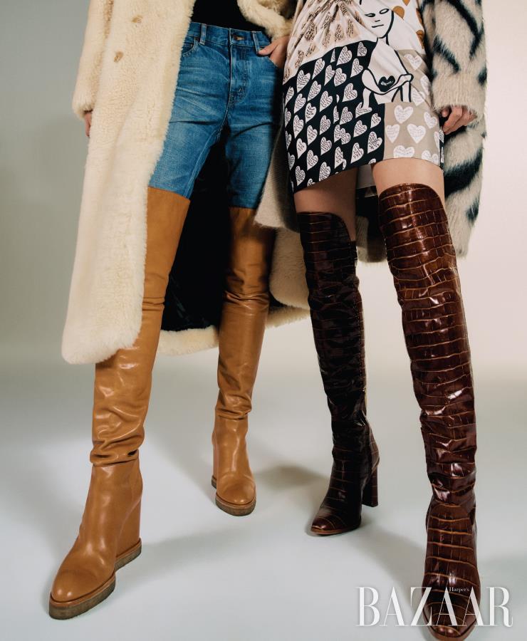 (왼쪽부터) 시어링 코트, 데님 팬츠, 웨지 힐 부츠는 모두 Celine by Hedi Slimane. 이너로 입은 톱은 H&M. 카디건, 니트 톱, 스커트는 가격 미정, 페이턴트 부츠는 2백28만원 모두 MaxMara.