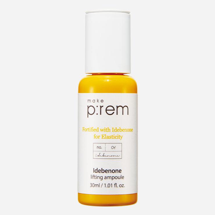 메이크프렘 이데베논 리프팅 앰플 3만8천원대▶탄력과 주름 개선에 효과적인 이데베논과 5겹 세라마이드를 함유한 앰풀. 로즈힙 추출물을 담아 예민한 피부도 안심하고 바를 수 있다.