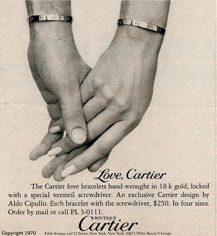 1970년대의 까르띠에 러브 광고 캠페인.