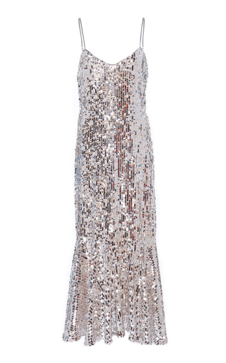 화려한 스팽글 장식의 슬립 드레스는 베로니카 비어드 by 네타 포르테
