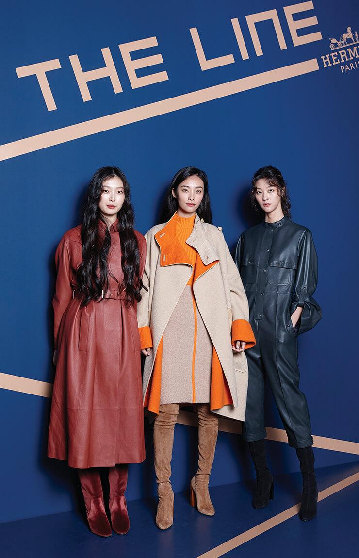에르메스의 F/W 컬렉션 착장을 입고 참석한 모델 김성희·곽지영·박지혜.