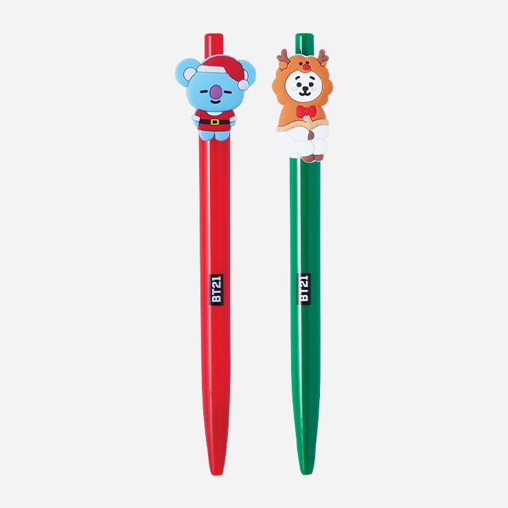 코야와 알제이가 장식된 BT21 크리스마스 에디션 펜 각각 3천5백원 모두 라인프렌즈.