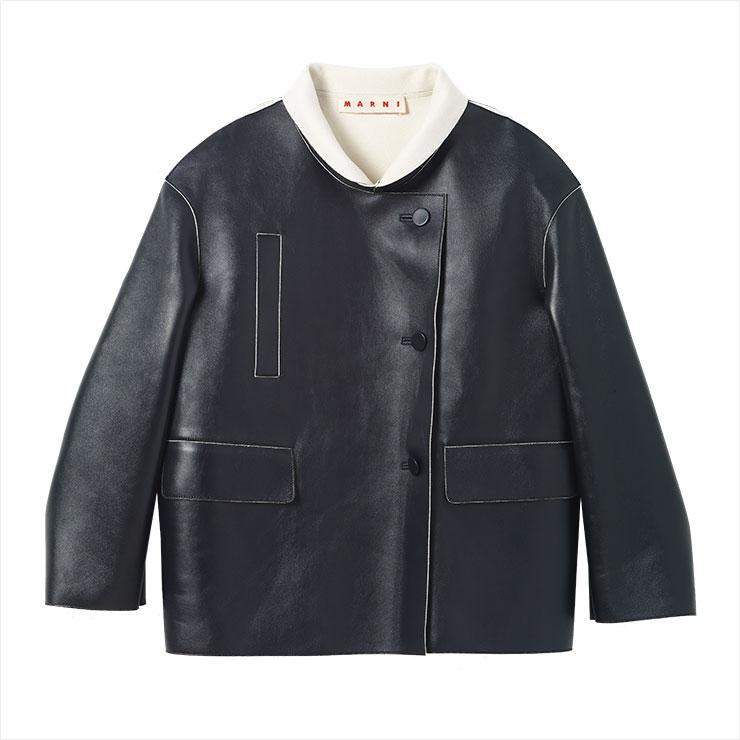 견고한 레더 재킷은 가격 미정, Marni.