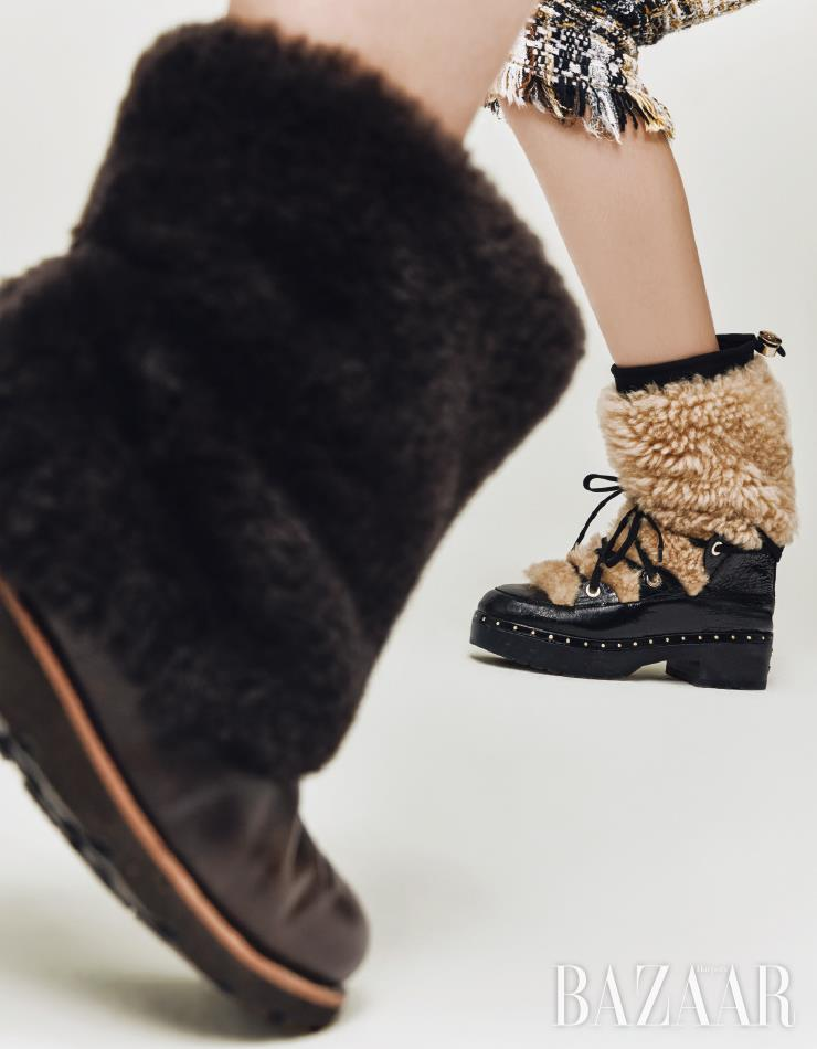 양털로 포근함을 더한 부츠는 가격 미정 Ugg. 점프수트, 레이스업 부츠는 모두 가격 미정 Chanel.