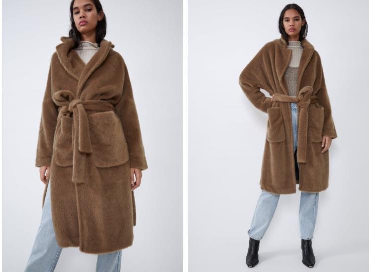 ▶다크 카멜 컬러의 에코 퍼 코트는 14만9천원, Zara.
