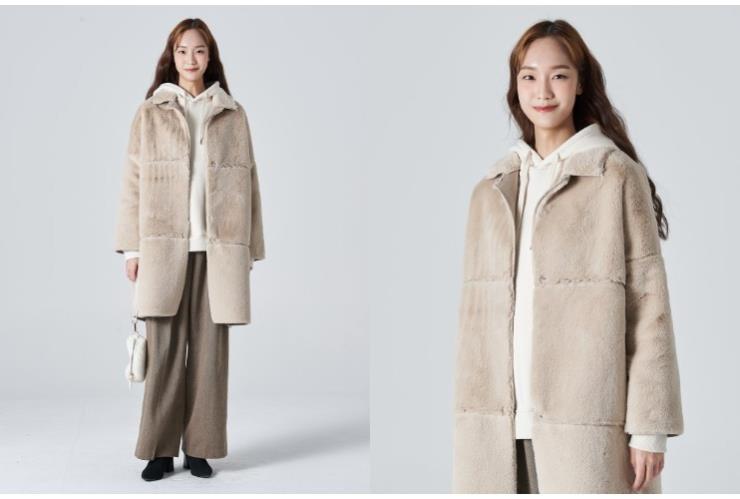 ▶베이지 무스탕 시어링 칼라 코트 10만9천원, 8세컨즈.
