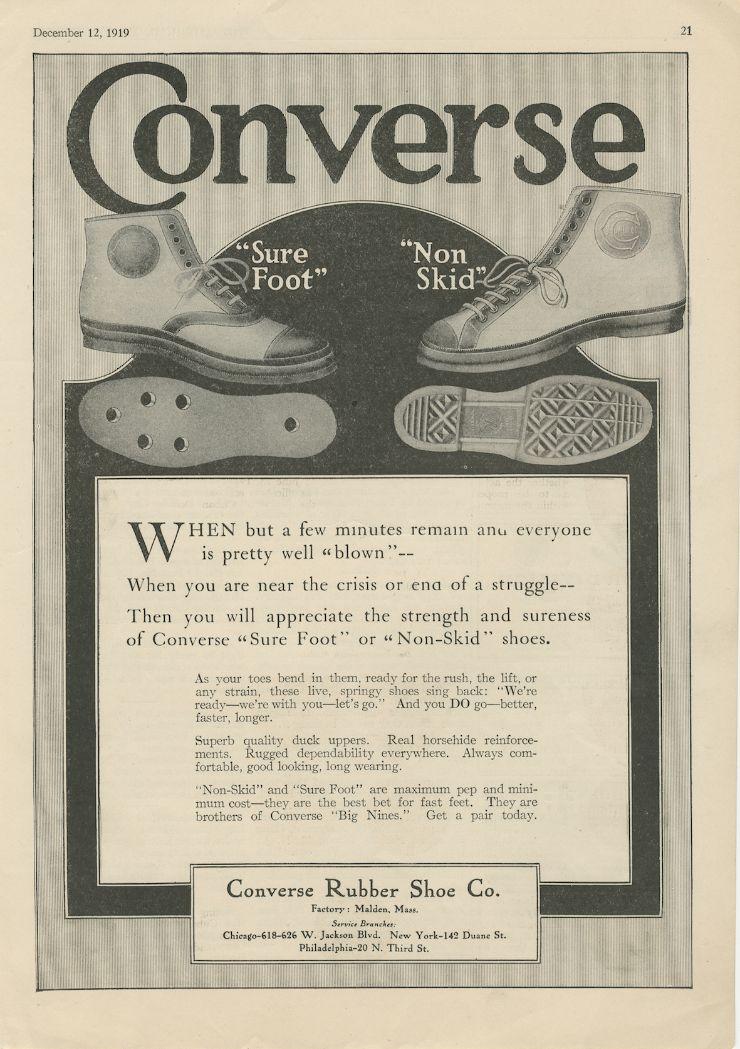1919년, 컨버스 논 스키드 농구화 광고 @컨버스 제공