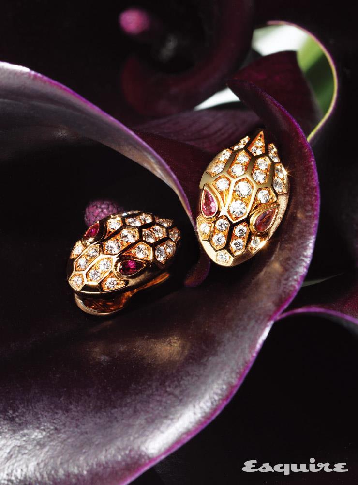 로즈 골드에 분홍빛 루벌라이트와 다이아몬드를 세팅한 세르펜티 이어링 1400만원대 불가리.