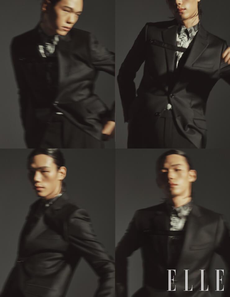 블랙 수트와 프린트 셔츠는 가격 미정, 모두 Dior Men.