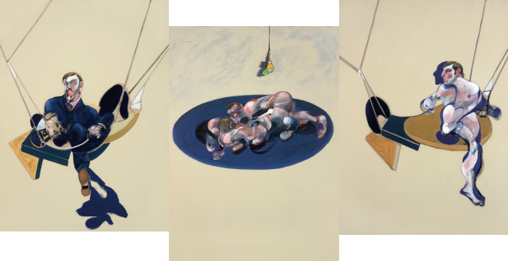 Triptych, 1970, Oil on canvas, Each panel : 198x147.5cm, National Gallery of Australia, Canberra ⓒ The Estate of Francis Bacon /All rights reserved / Adagp, Paris and DACS, London 2019 ⓒ The Estate of Francis Bacon. All rights reserved. DACS/Artimage 2019. Photo: Hugo Maertens