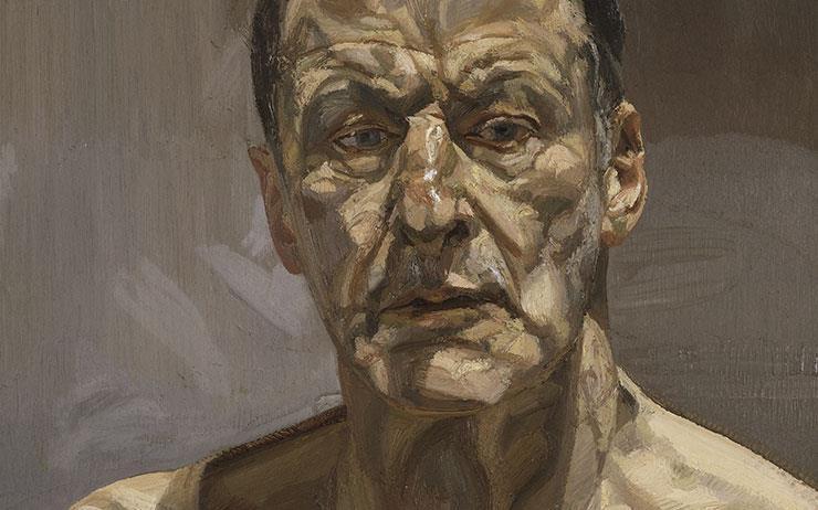 루치안 프로이트는 자기 자신을 그린다. 내면이 아닌, 오직 살갗과 눈빛을.