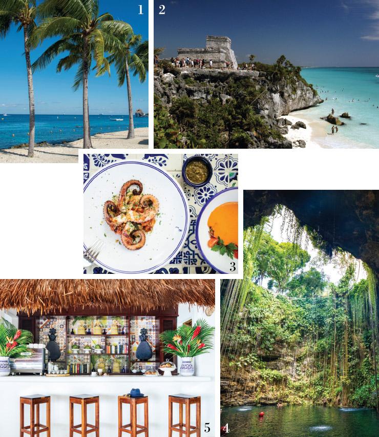 1 멕시코의 해변.2 유카탄 반도 위의 툴룸 사원.3 차블레 마로마 호텔의 요리. 4 호텔의 카페 겸 바.5 유카탄의 세노테.
