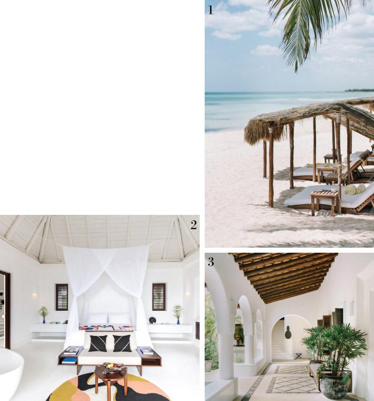 1 에센시아 호텔의 해변.2 호텔의 복도. 3 호텔의 해변 스위트룸.