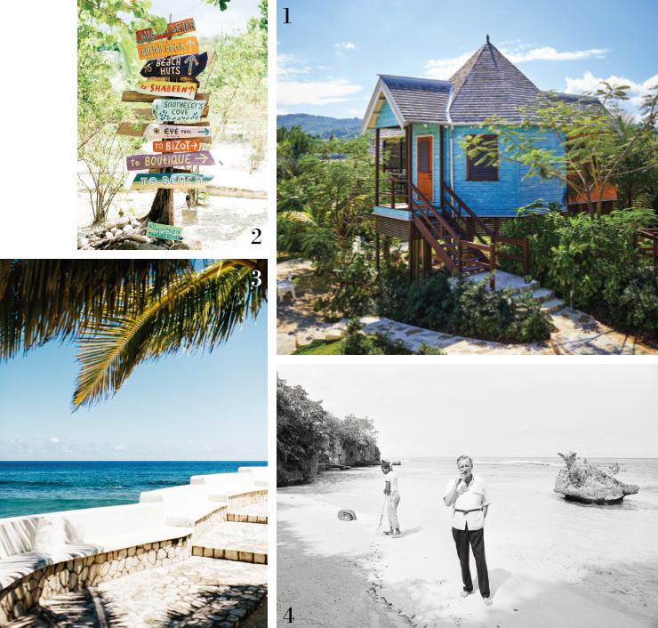 1 해변의 오두막, 골든아이. 2 위치를 알려주는 표지판들. 3 푸른빛의 해변. 4 1964년 골든아이에서 이언 플레밍의 모습.