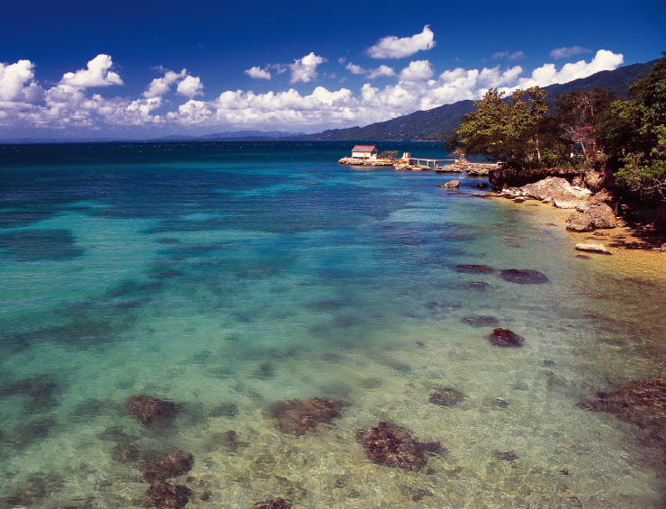 자메이카의 해변.
