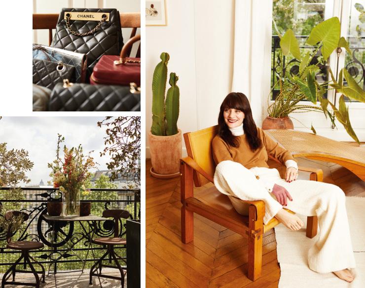 (오른쪽) 라운지에 앉아 있는 루치아 피카. 캐시미어 니트, 울 트위드 팬츠는 모두 Chanel. 주얼리는 본인 소장품.
