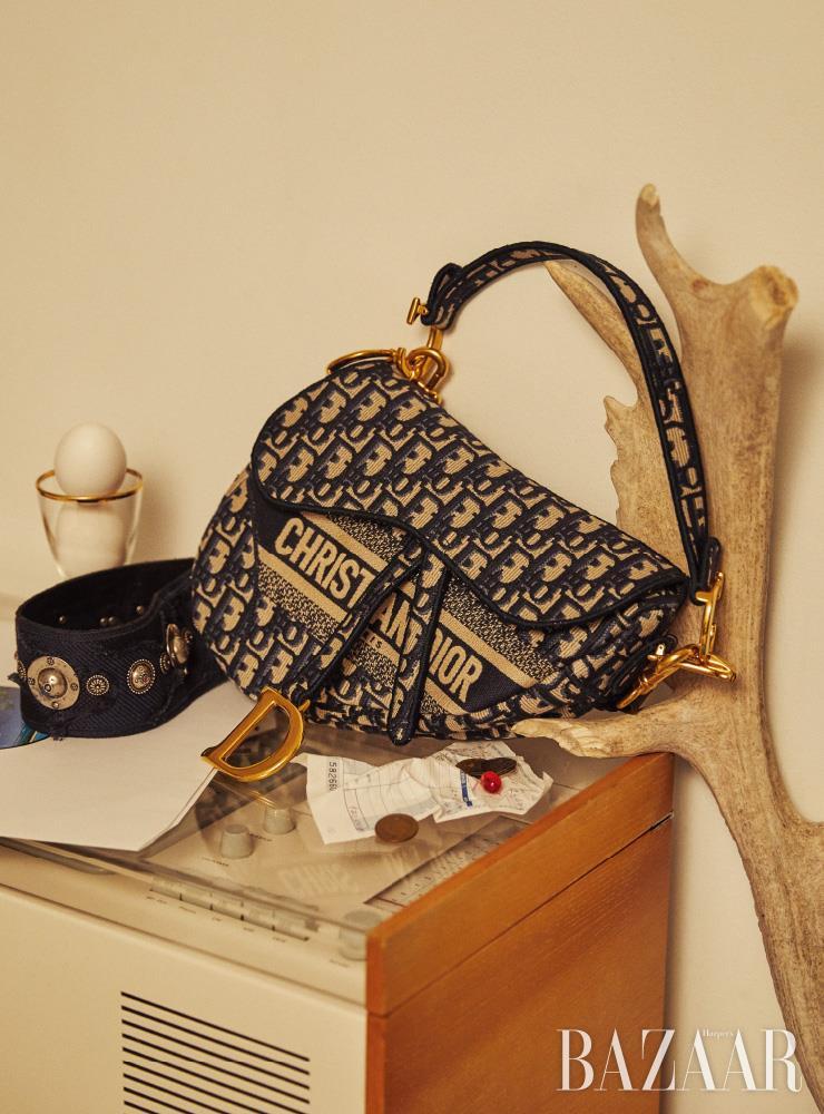 오블리크 로고 엠브로이더리 캔버스 소재의 '새들(Saddle)' 백은 Dior.