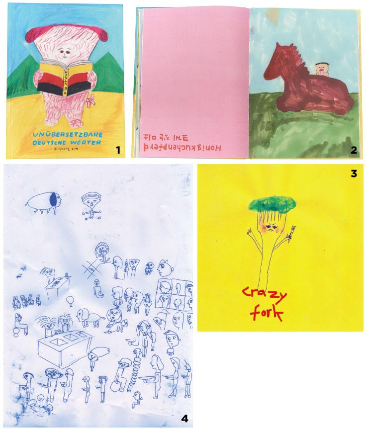 1,2 〈번역이 안 되는 독일어 단어들〉의 표지와 내지. 3,4 김주영 작가의 첫 출판물 〈Mensa〉의 일부 페이지.