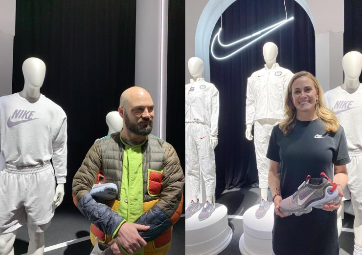 자랑스럽게 스페이스 히피 컬렉션을 소개하며 미소를 보이는 나이키 지속가능성 혁신 부문 시니어 노아 머피 레인하트(왼쪽)와 부사장 시에나 한나(오른쪽)
