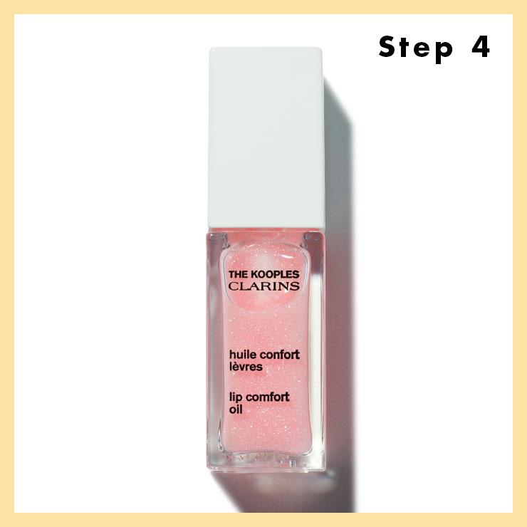 STEP 4 → 입술과 치크의 색조는 과감하게 생략한다. 먼저 각질을 정돈해 매끈한 입술로 만든 다음 립 오일을 안쪽부터 전체적으로 발라 유리알처럼 반짝이는 생기 정도만 연출할 것.