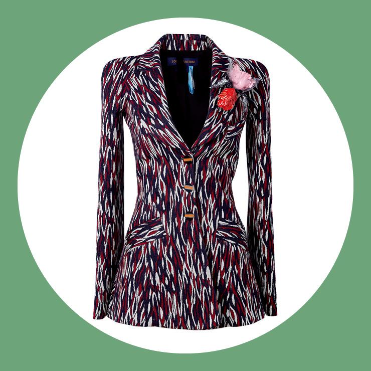 지오메트릭 패턴이 시선을 사로잡는 재킷은 가격 미정, Louis Vuitton.