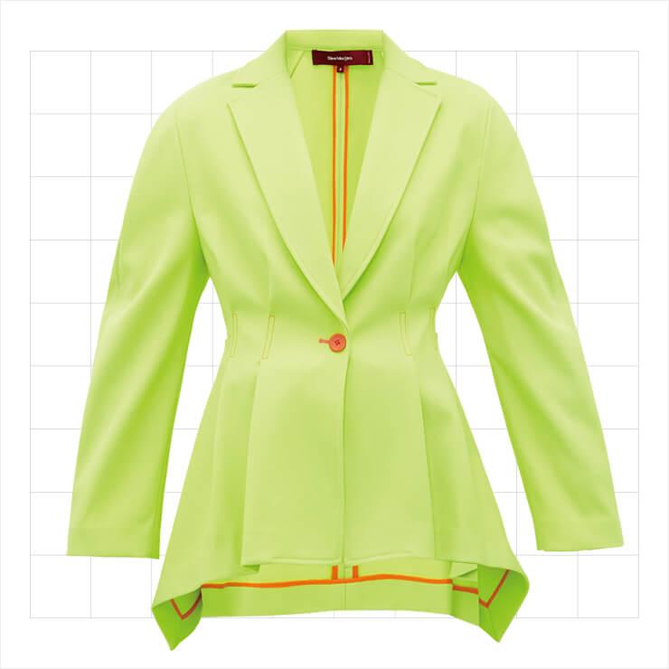 허리 라인을 강조한 네온 그린 컬러의 재킷은 1백41만원대, Sies Marjan by Matchesfashion.com.