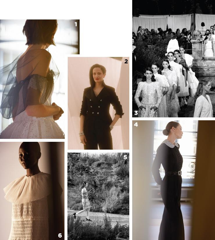 1 튤과 레이스 소재로 드라마를 더한 드레스. 2 에바 그린. 3, 5 피날레 신.4 수녀복을 연상시키는 지지 하디드의 드레스.6 소녀스럽게 풀어낸 쿠튀르 드레스.