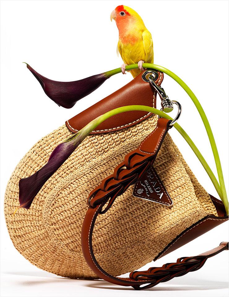 브라운 가죽과 라피아 소재의 조합이 돋보이는 숄더백은 가격 미정, Prada.