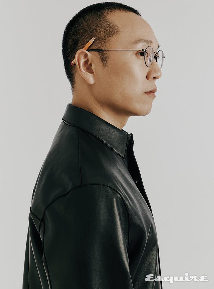 인조가죽 셔츠형 점퍼 타임옴므.
