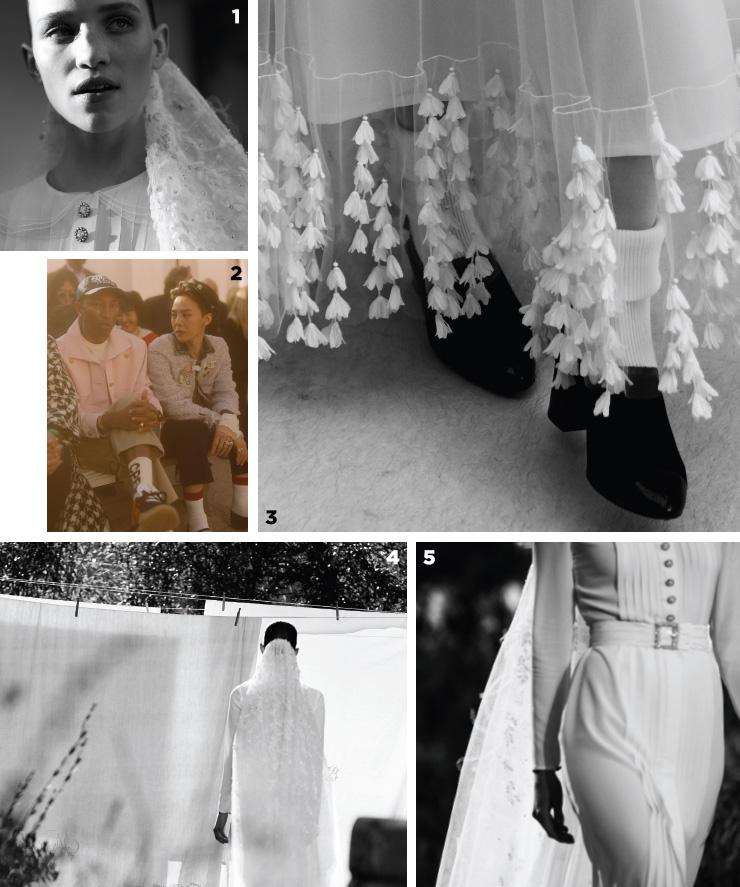 1, 4, 5 샤넬 쿠튀르의 피날레는 웨딩드레스가 장식한다. 그 어느 때보다 담백하게 완성된 드레스! 2 글로벌 앰버서더 자격으로 쇼장을 찾은 지드래곤과 퍼렐. 3 화이트 삭스를 매치한 로퍼 위로 흐드러진 꽃잎 디테일.