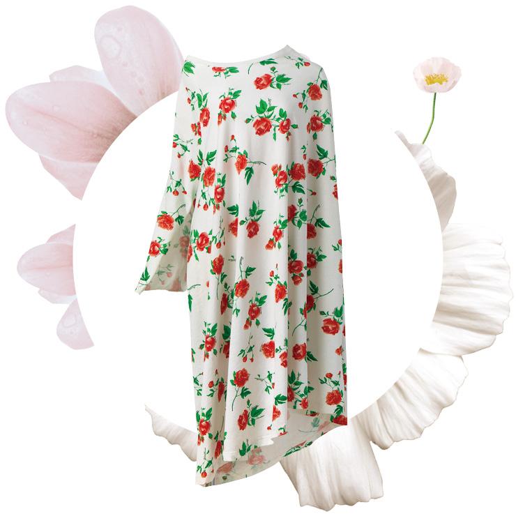 장미 프린트의 오프숄더 드레스는 가격 미정, Balenciaga.