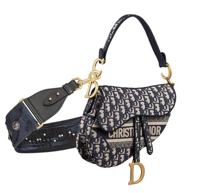 오리지널 디올 오블리크 자수 캔버스 새들 백, Dior