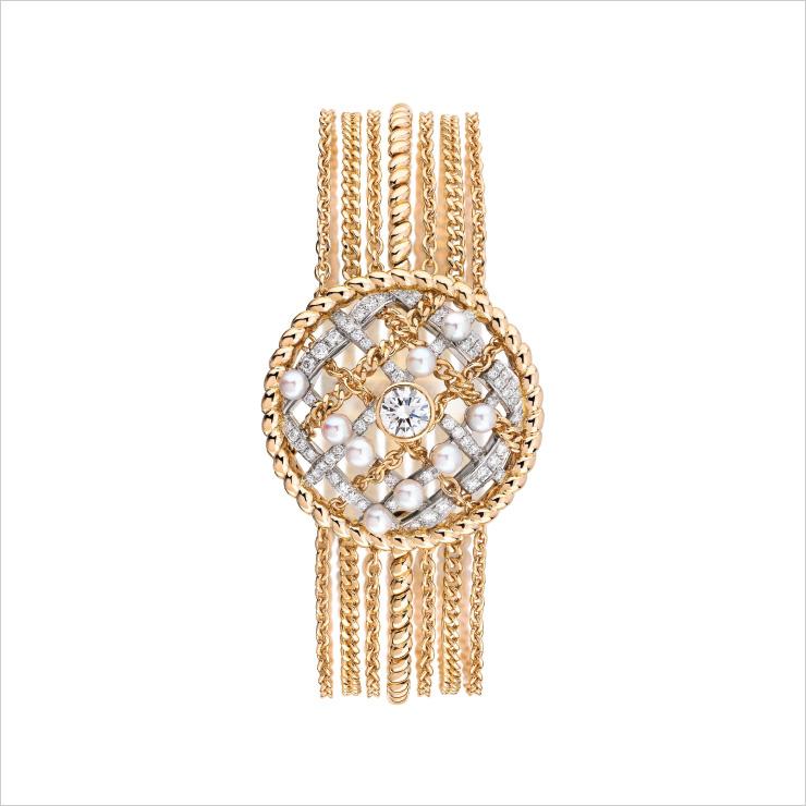 진주와 다이아몬드가 세팅된 '트위드 꼬르다지 브레이슬릿'.