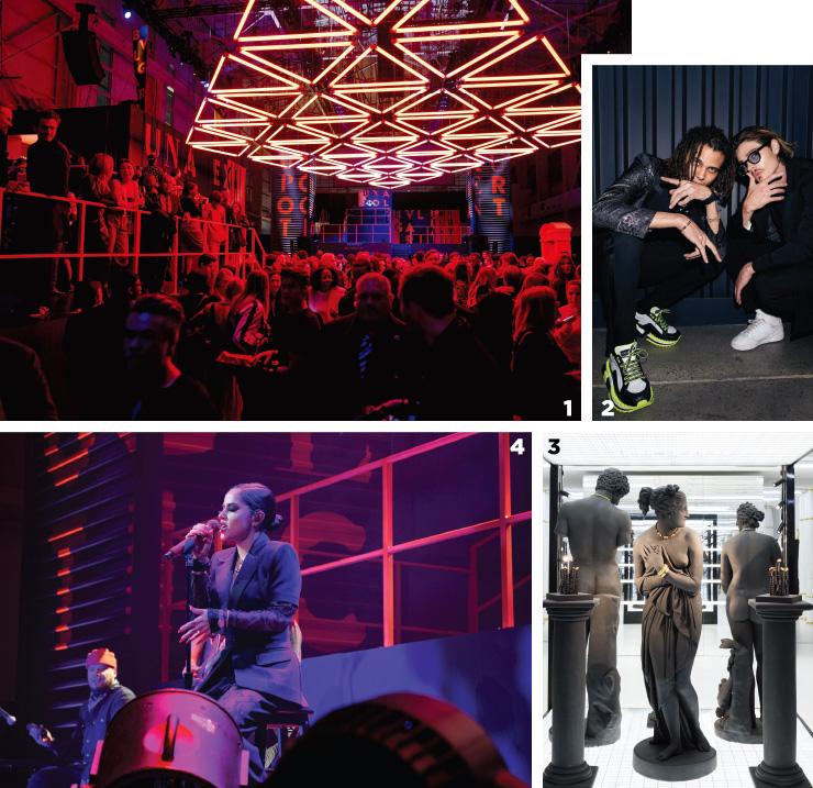 1 뉴욕에서 열린 론칭 파티 현장.2 모델 로베르토 로셀리니(좌)와 배우 윌 페츠.3 그리스 로마 신화를 연상케 한 디스플레이.4 인상적인 무대를 선보인 가수이자 배우 베키 지.