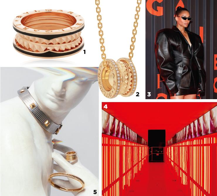 1 핑크 골드에 블랙 세라믹이 가미된 반지.2 '비제로원 락' 컬렉션의 옐로 골드 펜던트.3 깜짝 퍼포머로 등장한 가수 시애라.4 캠페인 룸의 모습.5 1980년대 투보가스 목걸이(위)에서 영감을 받아 탄생한 뉴 비제로원.