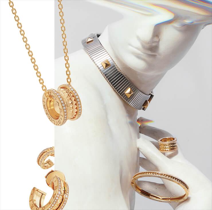 파베 세팅한 다이아몬드가 영롱한 빛을 발하는 옐로골드 '비제로원 락' 링과 브레이슬렛.