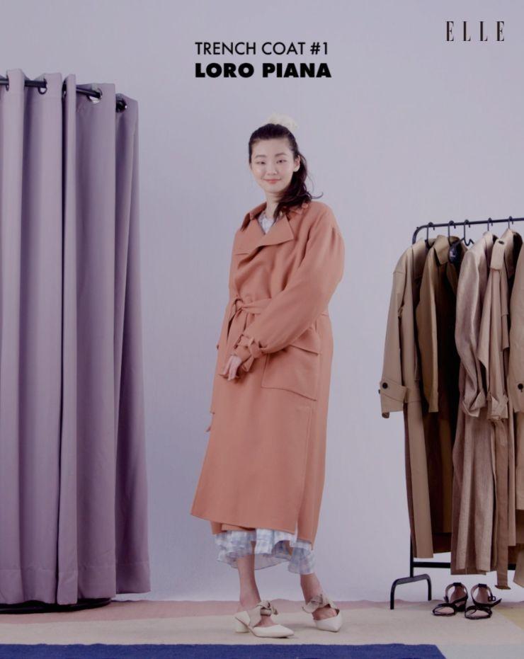 샐먼 핑크 톤의 캐시미어 트렌치 코트, Loro Piana