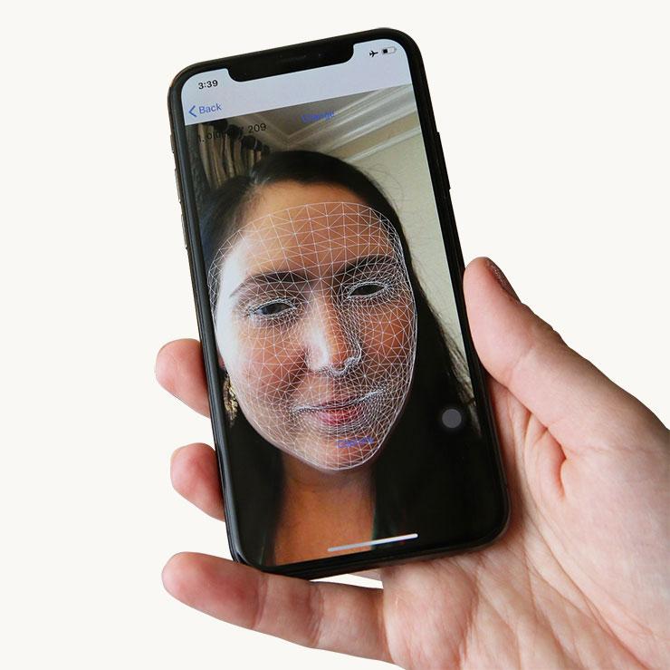 아모레퍼시픽 3D 프린팅 맞춤 마스크 팩의 얼굴 계측 장면.