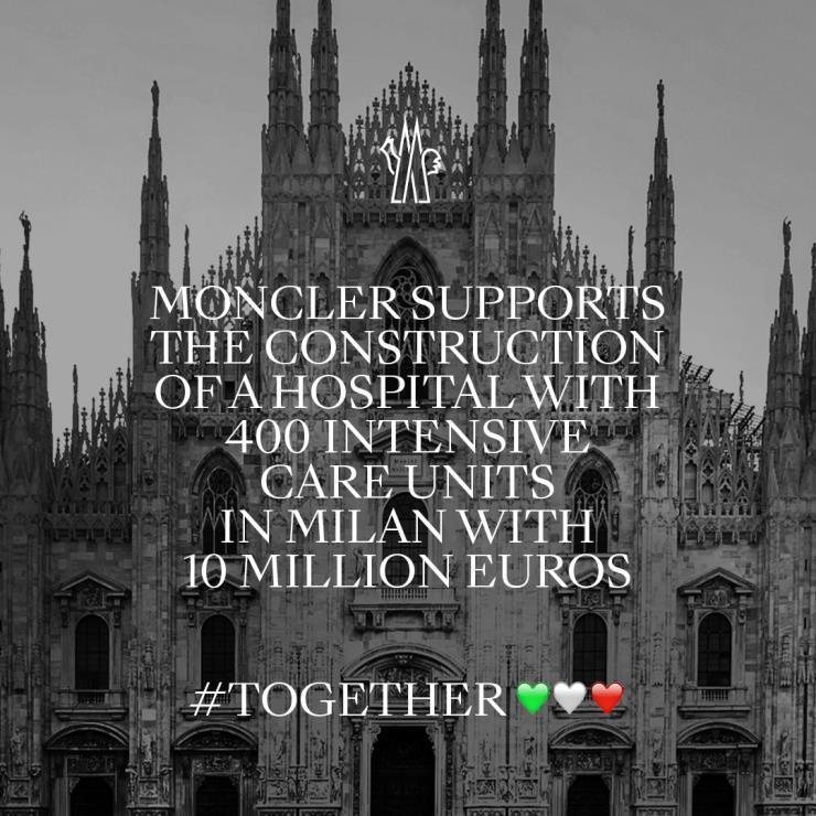 2020년 3월 17일, 몽클레르가 피에라(Fiera) 병원 프로젝트를 위해 1천만 유로를 지원한다고 발표했다.
