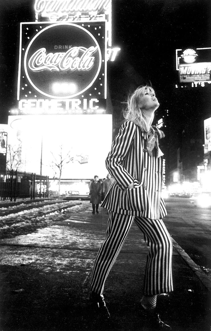 "'Nico in Times Square, New York, 1964 ""by Steve Schapiro (from FAHEY / KLEIN)"