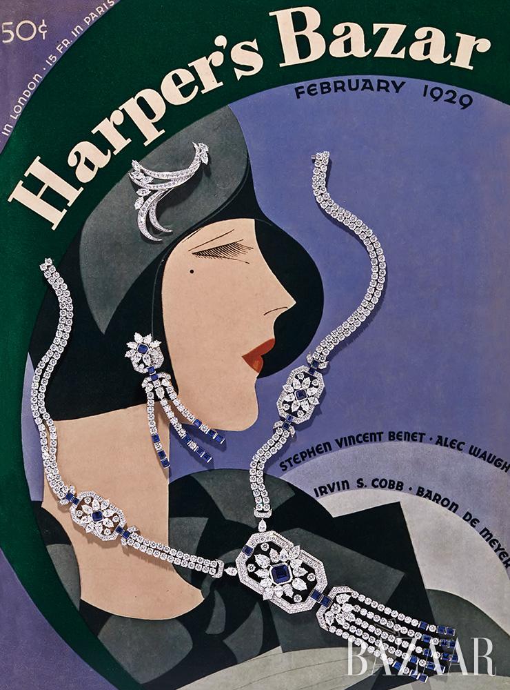 모자 장식으로 연출한 브로치, 귀고리, 목걸이는 모두 Harry Winston.Cover: Harper's Bazaar, February 1929, Illustration by Reynaldo Luza.