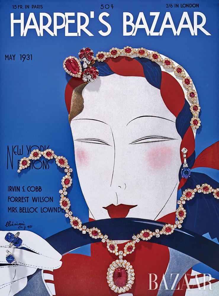 (왼쪽 위부터) '헤리티지' 귀고리는 Van Cleef & Arpels. 플라워 모티프 귀고리는 Bvlgari. 헤드피스로 연출한 '헤리티지' 목걸이, 볼드한 펜던트 장식의 '헤리티지' 목걸이는 모두 Van Cleef & Arpels. 드롭 귀고리, 반지는 모두 Bvlgari. Cover: Harper's Bazaar, May 1931, Illustration by Leon Benigni.